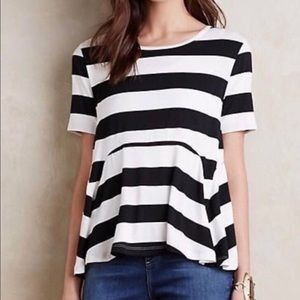 Anthropologie Everleigh Striped Peplum Tee